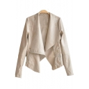 Lapel Collar Long Sleeve Plain Offset Zip Closure Asymmetric PU Jacket