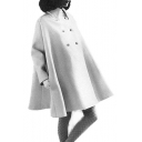 Double Breasted Lapel Collar Long Sleeve Plain Loose Cape Coat