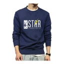 STAR Letter Lightning Print Round Neck Long Sleeve Sweatshirt