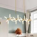 Novelty Home Decoration LED Frosted Linear Chandelier 18 Light/24 Light Metal Hanging Bar Light Windmill LED Chandelier in Gold (33.46