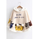 HIDE Letter Cat Print Pom Pom Drawstring Hood Loose Hooded Cape
