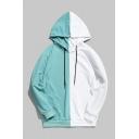 New Fashion Color Block Drawstring Hood Long Sleeve Menswear Loose Hoodie