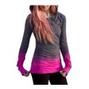 Ombre Print Long Sleeve Slim Hoodie for Woman