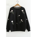 Round Neck Floral Embroidered Long Sleeve Leisure Sweatshirt
