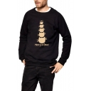 MERRY Letter Cat Print Round Neck Long Sleeve Unisex Pullover Sweatshirt