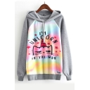 I'M UNICORN Letter Cat Print Color Block Raglan Sleeve Leisure Hoodie