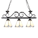 Black Finish Wrought Iron Frame 3-Light Billiard Chandelier with Stained Glass Flower Shades