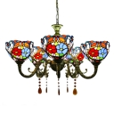 5-Light Multicolored Flower Pattern Bowl Shade Chandelier with Amber Crystal Droplets