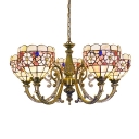 Shabby Chic Style 5-Light Floral Theme Tiffany Chandelier with Handmade Shell Lamp Shade