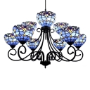 Blue/Orange Stained Glass Victorian Style Chandelier with Wrought Iron Black Frame for Hotel Lobby