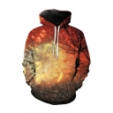 Fancy 3D Firework Pattern Long Sleeve Winter's Fashion Unisex Hoodie with Pockets