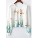 HELLO Letter Cactus Print Round Neck Long Sleeve Sweatshirt