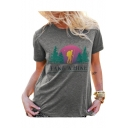 TAKE A HIKE Letter Character Print Round Neck Short Sleeve T-Shirt