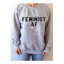 FEMINIST Letter Print Round Neck Long Sleeve Pullover Sweatshirt
