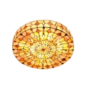Heart Motif Natural Shell Tiffany Flush Mount Ceiling Light with Brilliant Jewels, 19.69