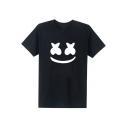 Comic Smile Face Print Round Neck Short Sleeve T-Shirt