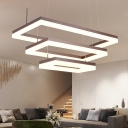 Modern Adjustable Pendant Lighting Frosted LED Rectangular Chandelier 15.75