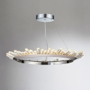 Chrome LED Crystal Ring Chandelier Post Modern Single Tier 16/48W LED Warm White Natural Ice LED Chandelier 15.75