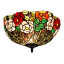 Rose/Fruit Theme Bowl Shade Flushmount Ceiling Light with Brilliant Jewels 4 Designs for Option