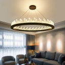 Ultra Modern LED Crystal Ring Pendant LED Ambient Warm/White Light 1 Light K9 Crystal Halo LED Chandelier in Black/Gold Height Adjustable  4 Sizes for Option