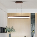 Height Adjustable Brown LED Oval Pendant Light 34/45/55W 23.62