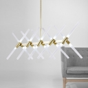 Pendant Bar Lighting 47.24 Inch Long Glass Sticks LED Chandelier 3W 20 Light Tube LED Chandeliers in Gold Post Modern Restaurant Table Hanging Light