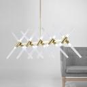 Pendant Bar Lighting 47.24 Inch Long Glass Sticks LED Chandelier 3W 20 Light Tube LED Chandeliers in Gold Post Modern Restaurant Table Hanging Light