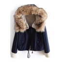 Faux Fur Trim Hood Long Sleeve Zip Placket Drawstring Hem Hooded Jacket