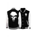 Skull Print Stand Collar Color Block Button Front Slim Baseball Jacket