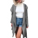 Cool Long Sleeve Plain Open Front Tunic Hooded Coat