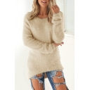 Round Neck Long Sleeve Plain Plush Dip Hem Pullover Sweater
