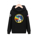 NASA Letter Rocket Print Long Sleeve Loose Unisex Hoodie