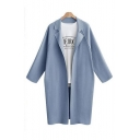 Notched Lapel Collar Raglan Long Sleeve Plain Open Front Tunic Coat