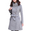 Classic Button Placket Plain Long Sleeve Tie Waist Woolen Coat