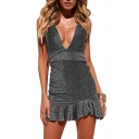 Spaghetti Strap Sleeveless Bow Tie Back Sexy Mini Cami Dress