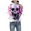 Paint Splatter Skull Print Long Sleeve Loose Hoodie