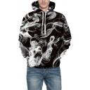 3D Smoke Pattern Long Sleeve Casual Hoodie