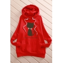 Cat BEAUTY IS NOT AS NEED Letter Print Long Sleeve Casual Hoodie