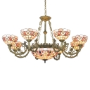 9-Head Floral Theme Shell Shade Center Bowl Chandelier in Shabby Chic Style 2 Designs for Option