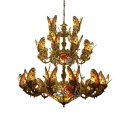 Large Size Multicolored Butterfly Designed Center Bowl Chandelier for Villa Hotel Lobby Dining Hall