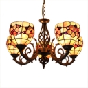 Handmade Shell Flower Shade 5-Light Chandelier in Wrought Iron Style 2 Designs for Option