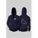 Funny Spider Printed Mathematical Problem Printed Back Long Sleeve Unisex Zip Up Hoodie
