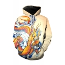 3D Dragon Printed Long Sleeve Regular Fitted Apricot Hoodie