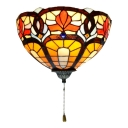 Inca style Tiffany 1-light Bowl Shade Sconce with Pull Switch