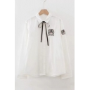 Cat Embroidered Lapel Collar Long Sleeve Button Front Shirt