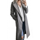 Notched Lapel Collar Long Sleeve Plain Tunic Woolen Coat for Woman