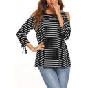 Striped Round Neck Cold Shoulder Long Sleeve Knotted Cuffs Loose Tee