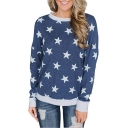 Star All Over Print Contrast Trim Round Neck Long Sleeve Sweatshirt