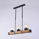 Vintage Style 3 Light Glass Shade Island Light Ceiling Lamp with Wood in Black