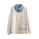 Fish Embroidered Contrast Lapel Collar Layered Long Sleeve Sweatshirt